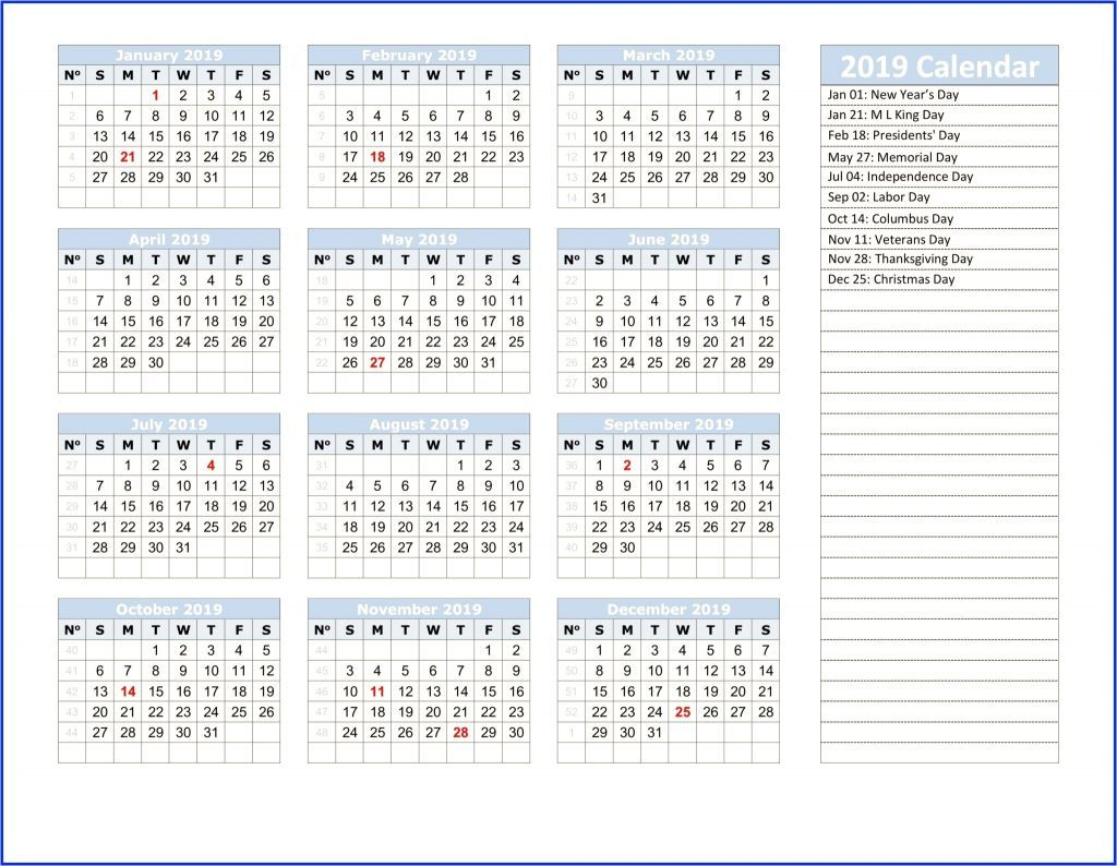 Yearly Calendar 2019 Template With Nsw Holidays Printable 2019