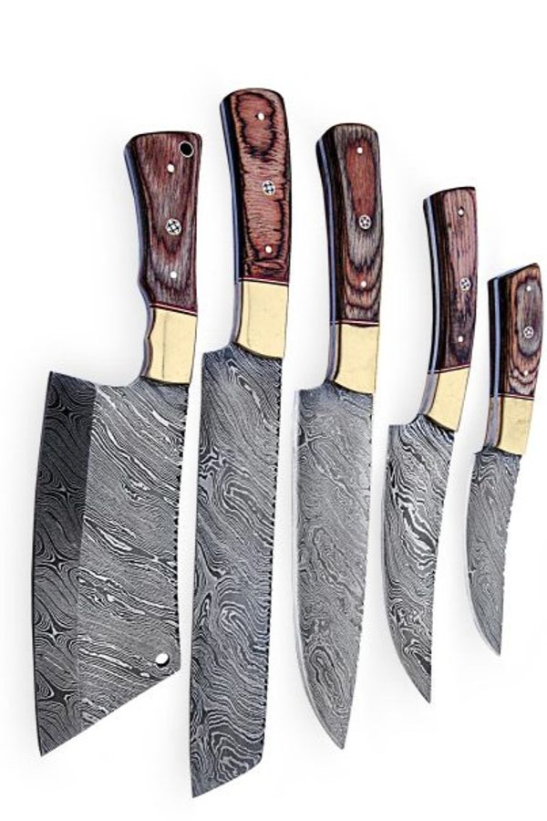 Chef Knives Set Made Of Damascus Steel Are Purely Handmade Design For Cooking And Photography Most Of Professional French C Cuchillos De Chef Cuchillos Asador