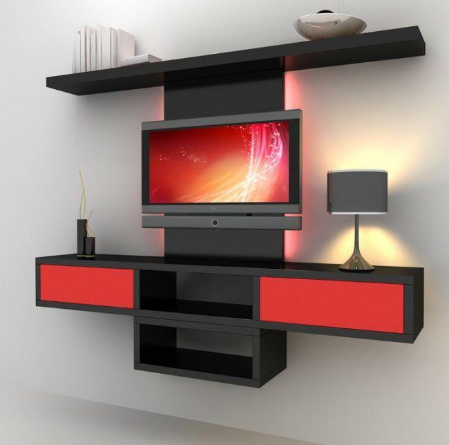 wohnwand selber bauen modern design nachmachen schwarz regal rot - bucherregal designs akzent interieur