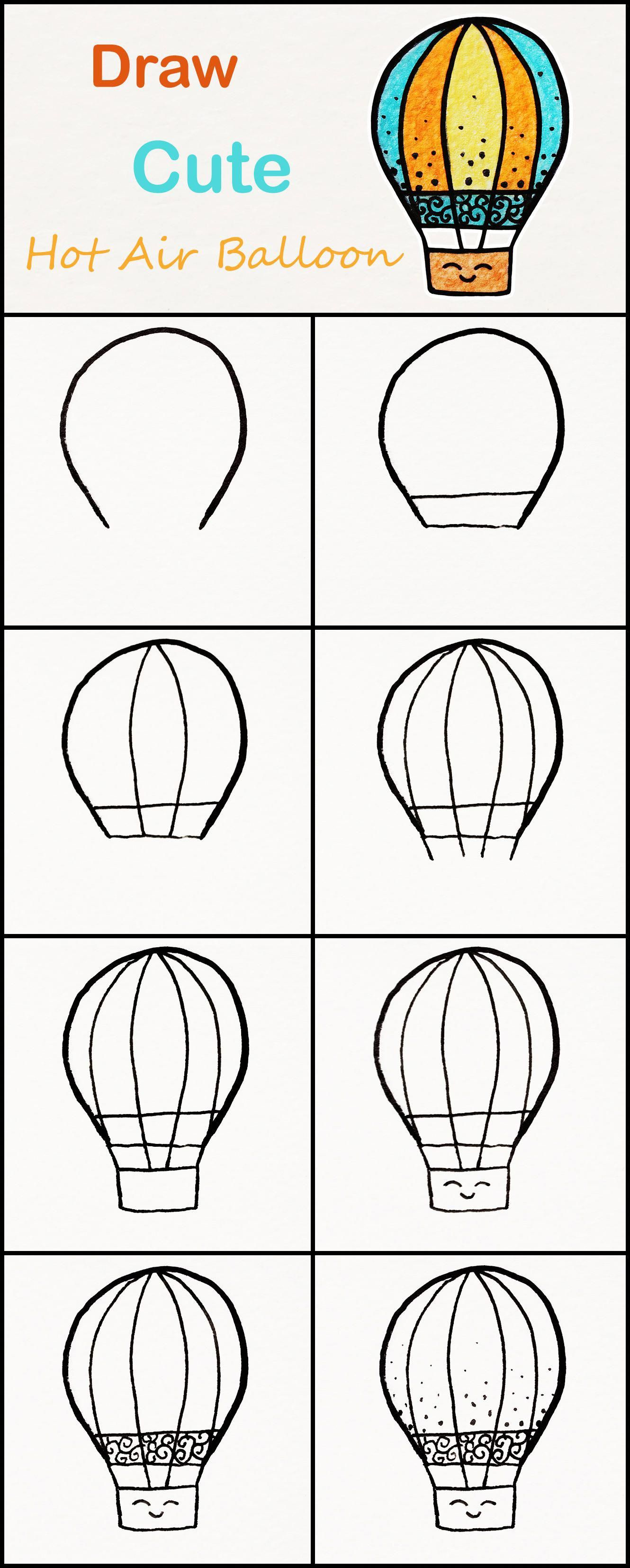 Learn how to draw a cute Hot air Balloon step by step ...