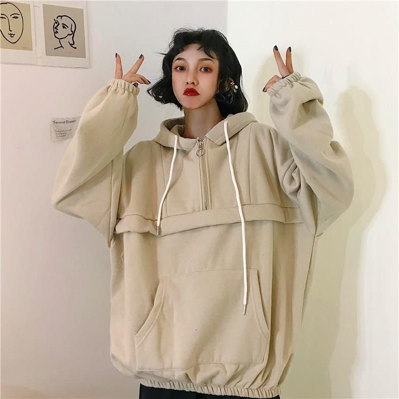 2019 Korean Style Women Solid Color Loose Hoodies Casual Winter Autumn Trendy Thicker Velvet Warm Sweatshirts Plain Hoodies Hoodies Korean Fashion