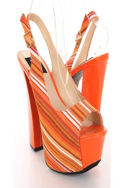 7eadad4a3c0 Peep Toe · Doll up any outfit with these fabulous chunky platform slingback  heels! They will look super