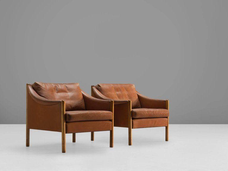 Scandinavian Modern Two Danish Armchairs In Cognac Leather