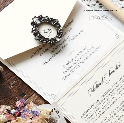 Victorian touch wedding invitation featuring a wonderful miniature frame personalised with the couples initials