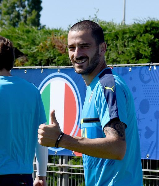 "Leonardo Bonucci of Italy greets prior to the training session at ""Bernard Gasset"" Training Center on June 9, 2016 in Montpellier, France."