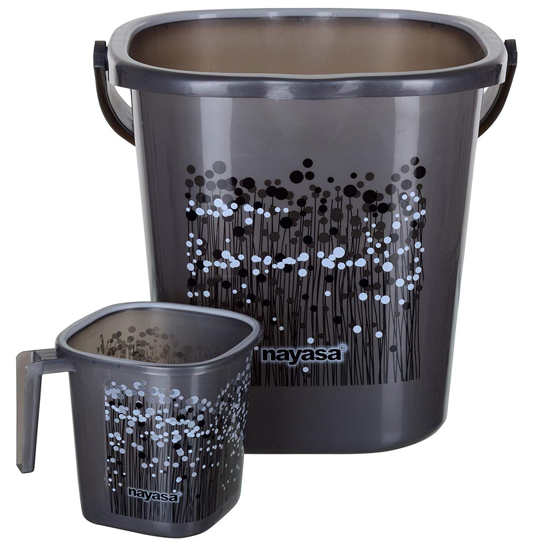 M R P 634 00 You Save 163 00 26 Nayasa Aarohi13 Nayasa Plastic Bathroom Bucket And Mug Set 25 L Grey 2 Bathroom Gadgets Mugs Set Bathroom Items
