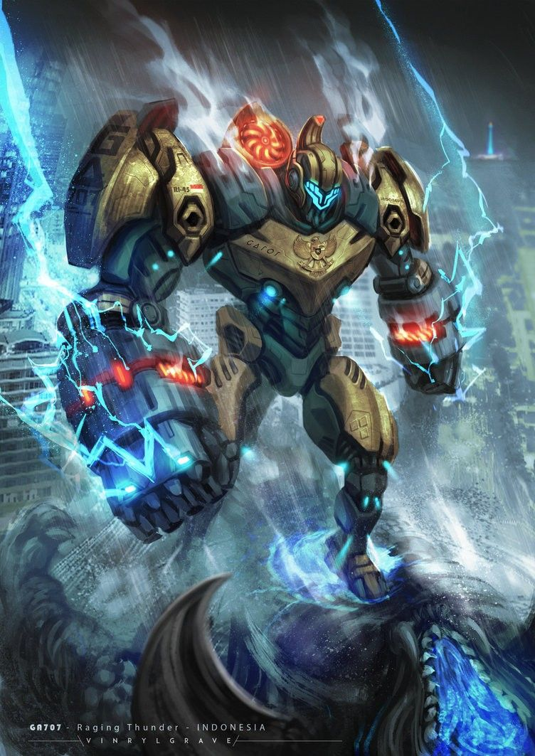 Raging Thunder.Jeager Pacific rim, Robot concept art