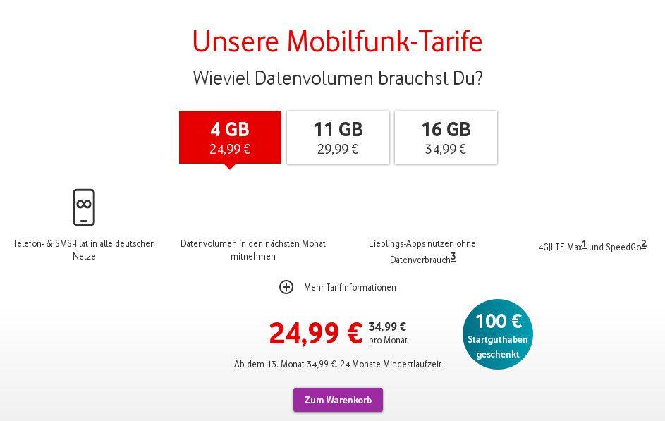 Vodafone Red Tarife mit 100 Euro Startguthaben und ...