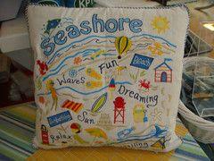 Retro Seashore Souvenir Pillow