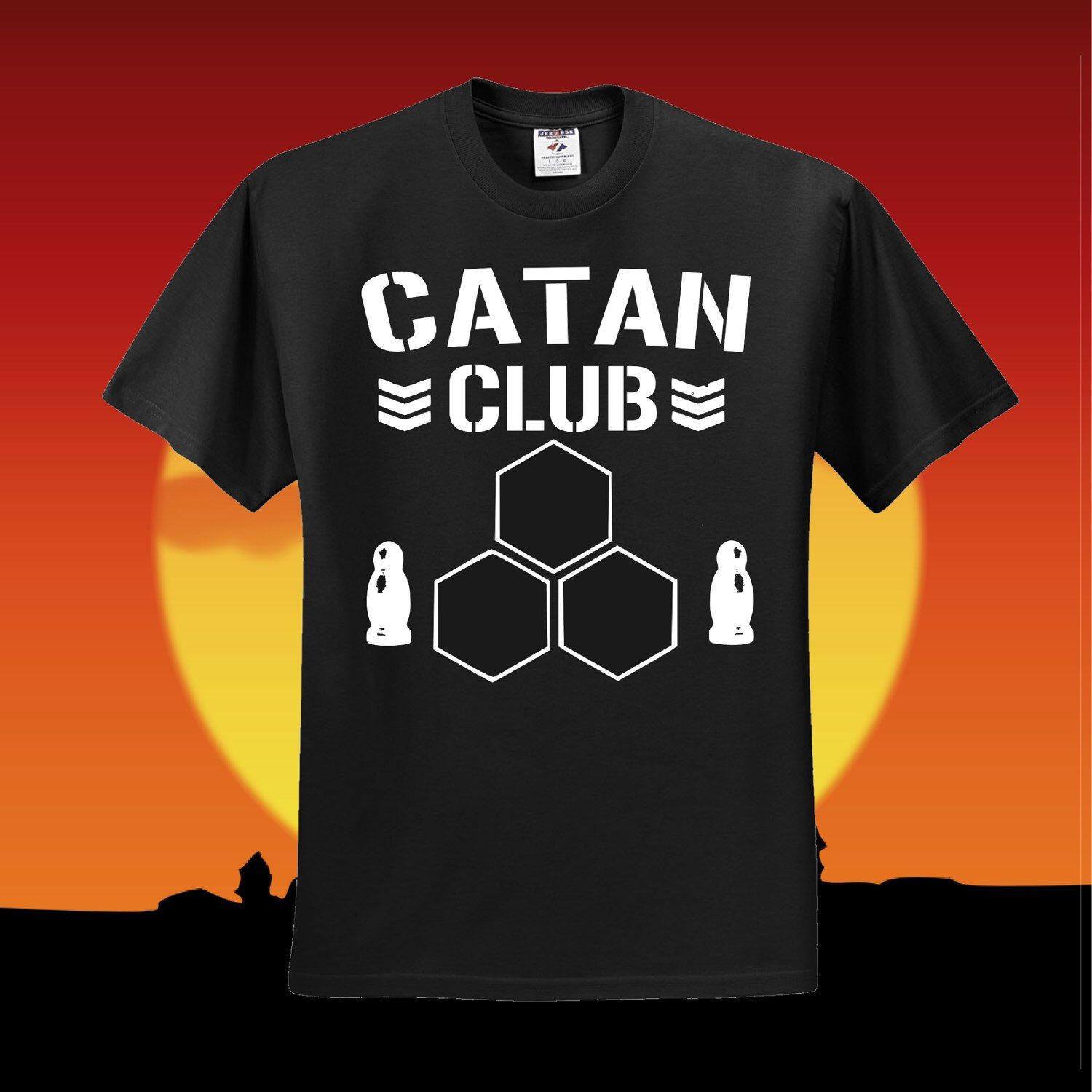 A personal favorite from my Etsy shop https://www.etsy.com/listing/270238904/catan-club-t-shirt