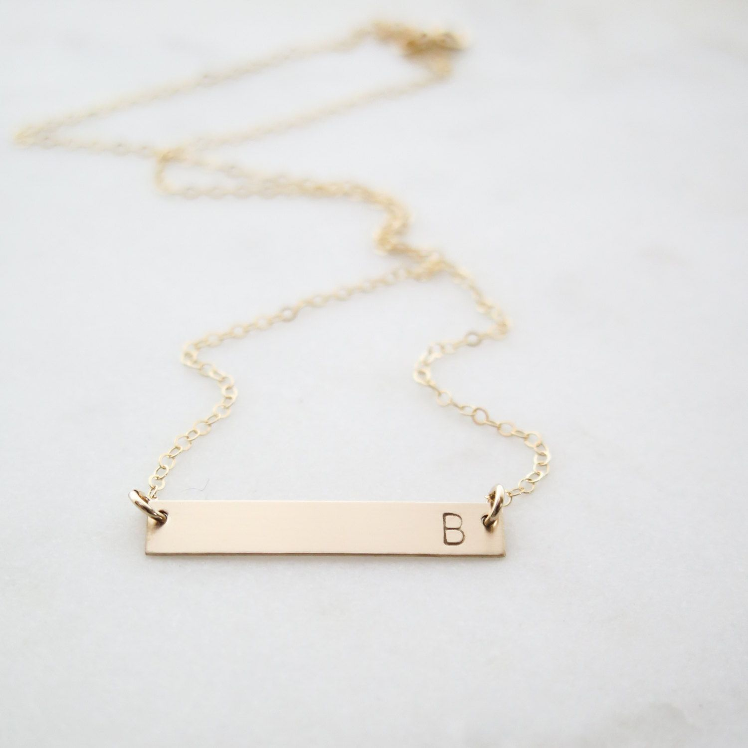 0196530e6fd537 Custom Initial Gold Bar Necklace - Simple, Dainty Letter Hand Stamped  Jewelry - by Betsy Farmer Designs