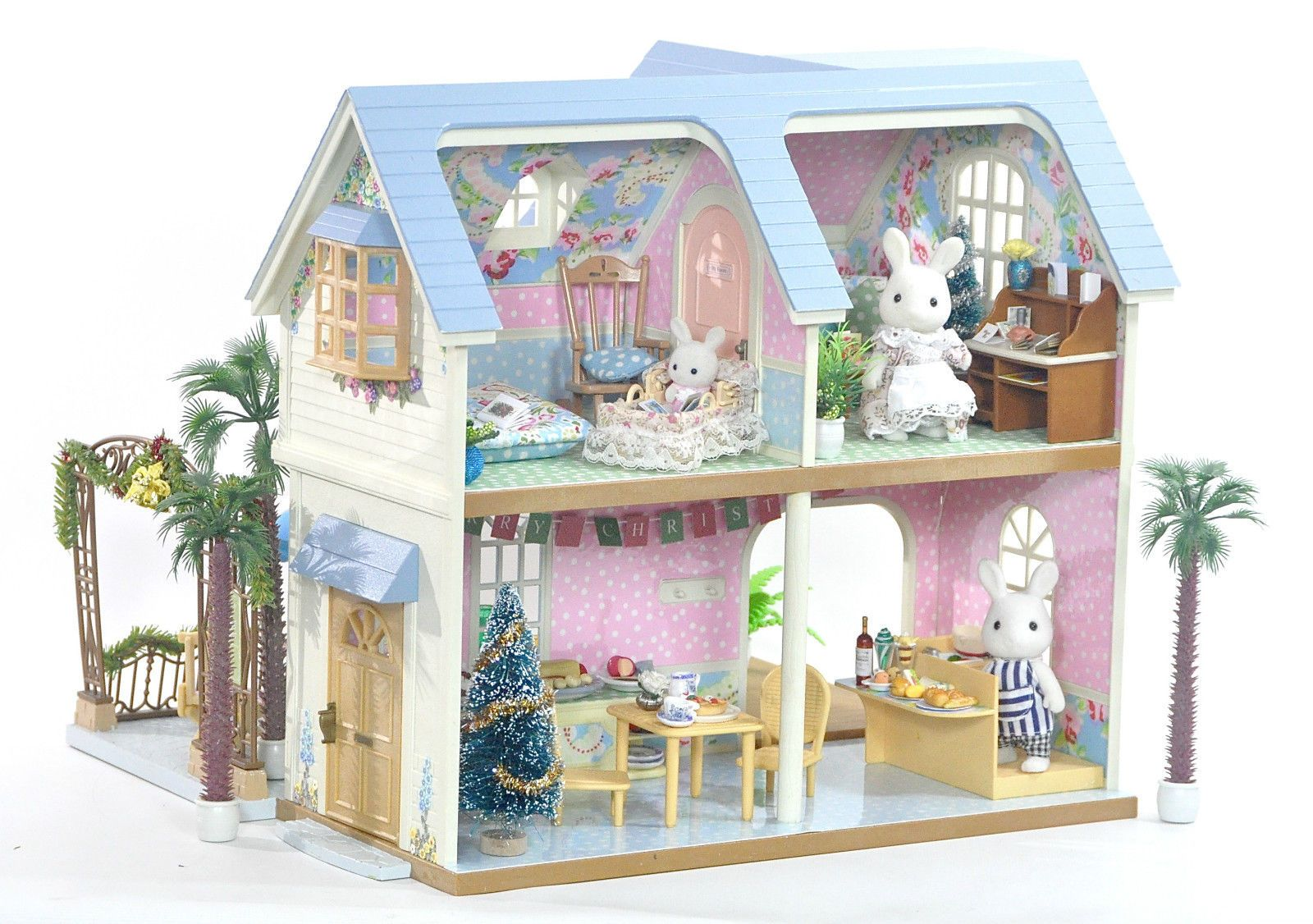 Fistuff sylvanian families decorated xmas courtyard restaurant house lots in
