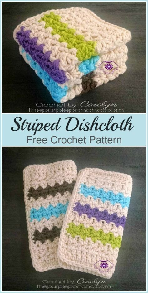 The Striped Dishcloth is a free crochet pattern made with cotton ...