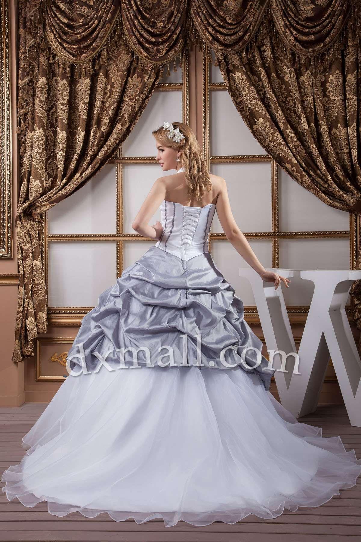 Different color wedding dresses  Pick Up Wedding Dresses Halter Court Train Organza Satin Multi