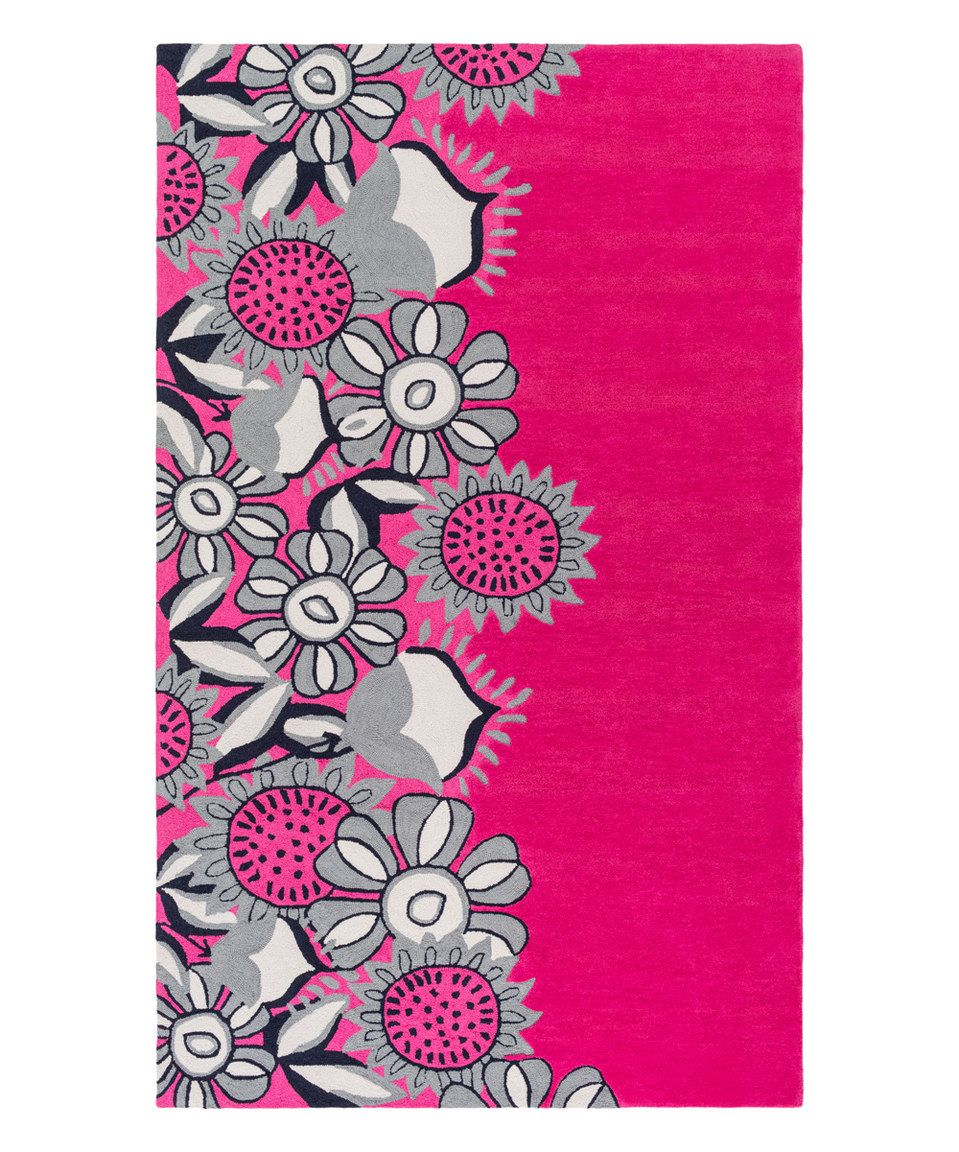Love this Pink Floral Skidaddle Rug by Surya on #zulily ...