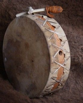 Native American drum, an item to be cherished and honoured! Take good care of this! A woman cannot touch their drum during their moontime! Thought i'd share that fact!