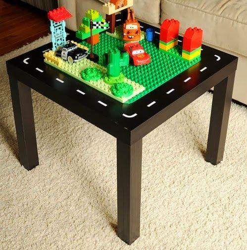 diy personnaliser la table basse lack ikea ikea hack play table and construction. Black Bedroom Furniture Sets. Home Design Ideas