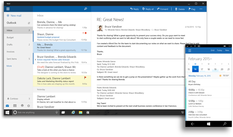 Outlook Mail and Calendar app gets drag & drop attachments