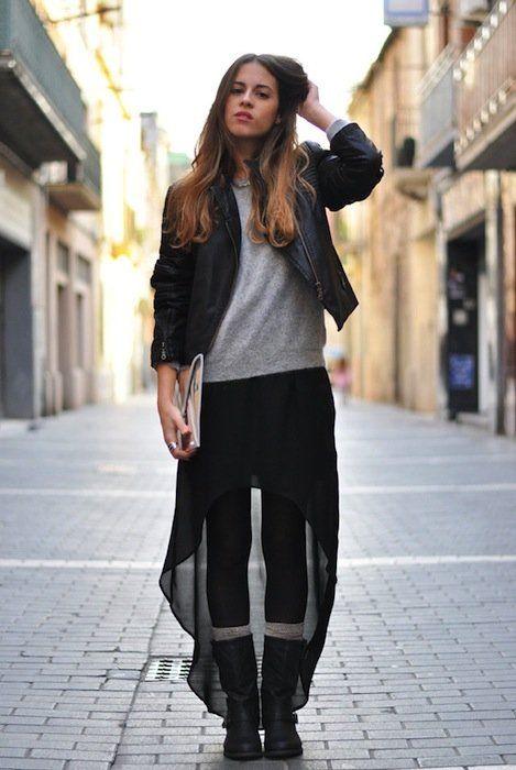 Biker boots and long skirt