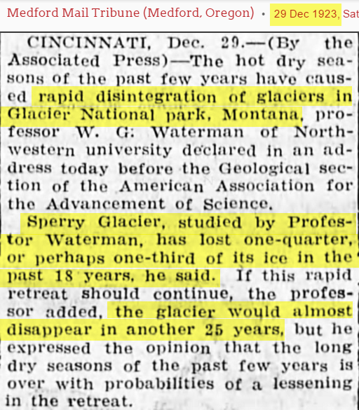 1923 Scientist Warned That Glacier National Park Could Disappear Before 1950 Climate Change Denial Climate Change Glacier National Park