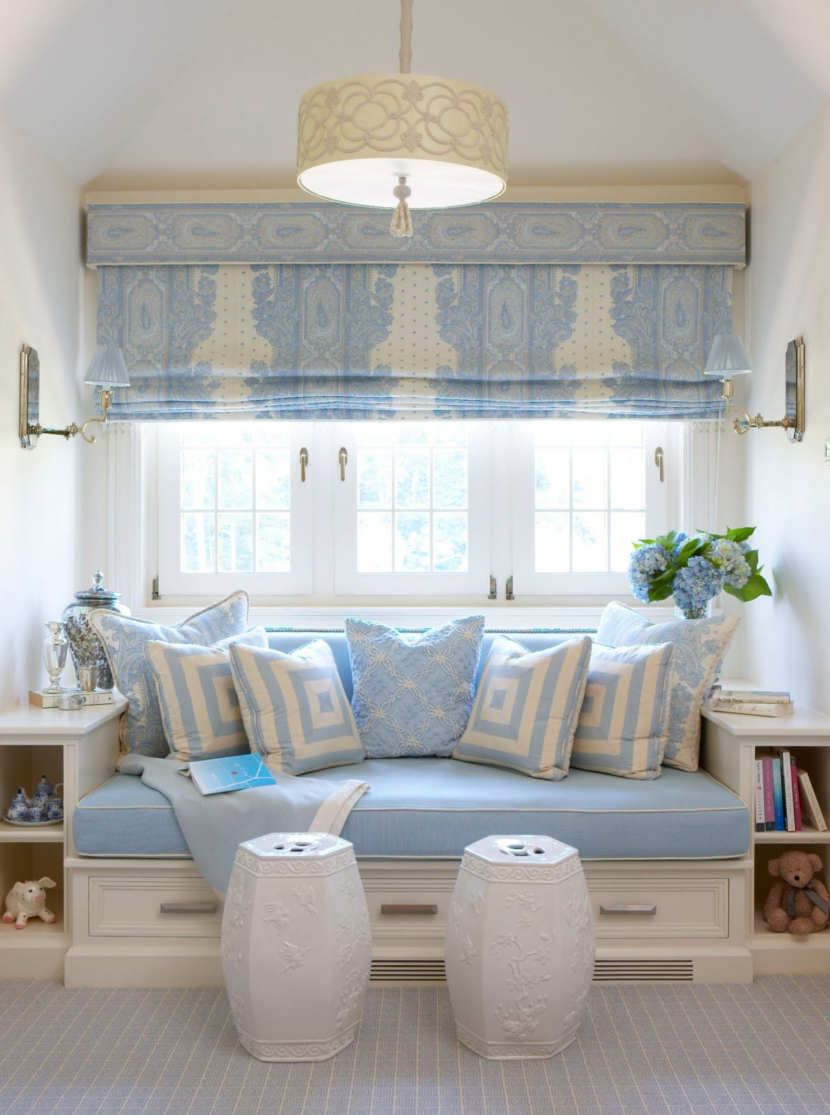 Window seat with shelving on the side and storage drawer for Window side seating