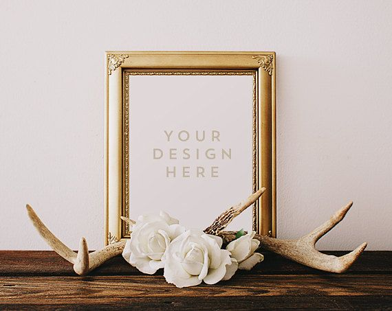 Gold Frame with Deer Antlers & Roses, Wood Desk, Flowers, Stock ...