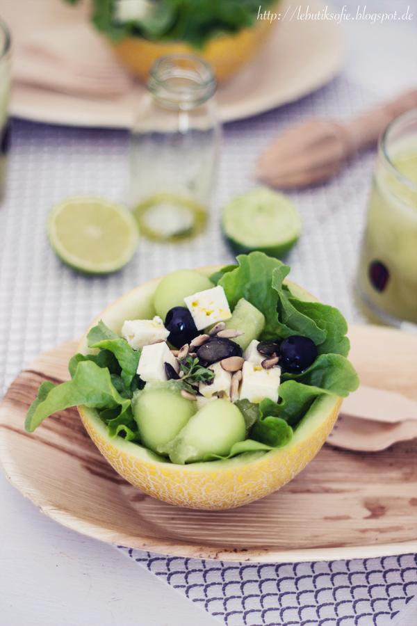 butiksofie melonen schafsk se salat und ein gr ner melonen cocktail kitchen salad salad. Black Bedroom Furniture Sets. Home Design Ideas