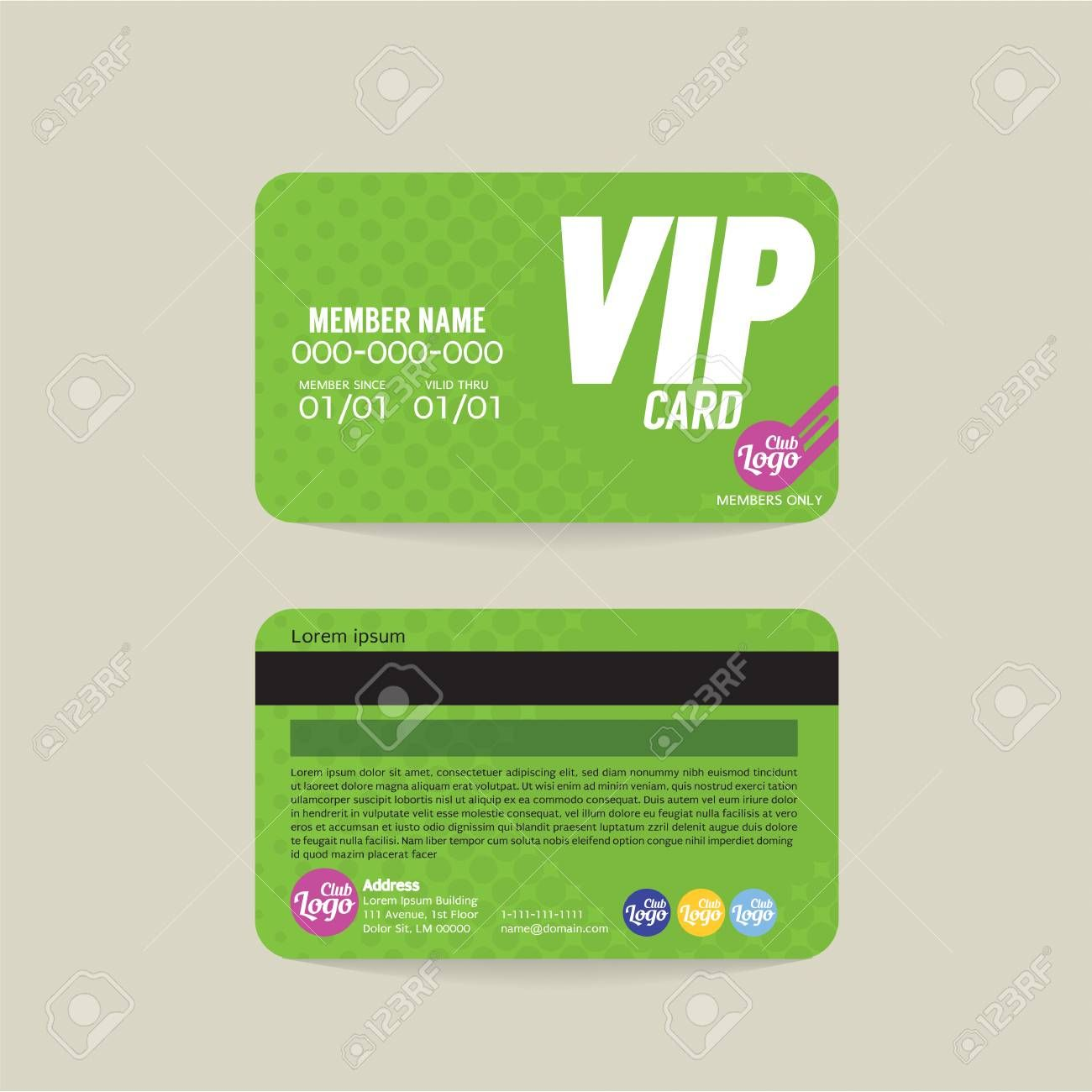 Front And Back Vip Member Card Template Vector Illustration Intended For Membership Card Template Free Member Card Card Templates Free Loyalty Card Template