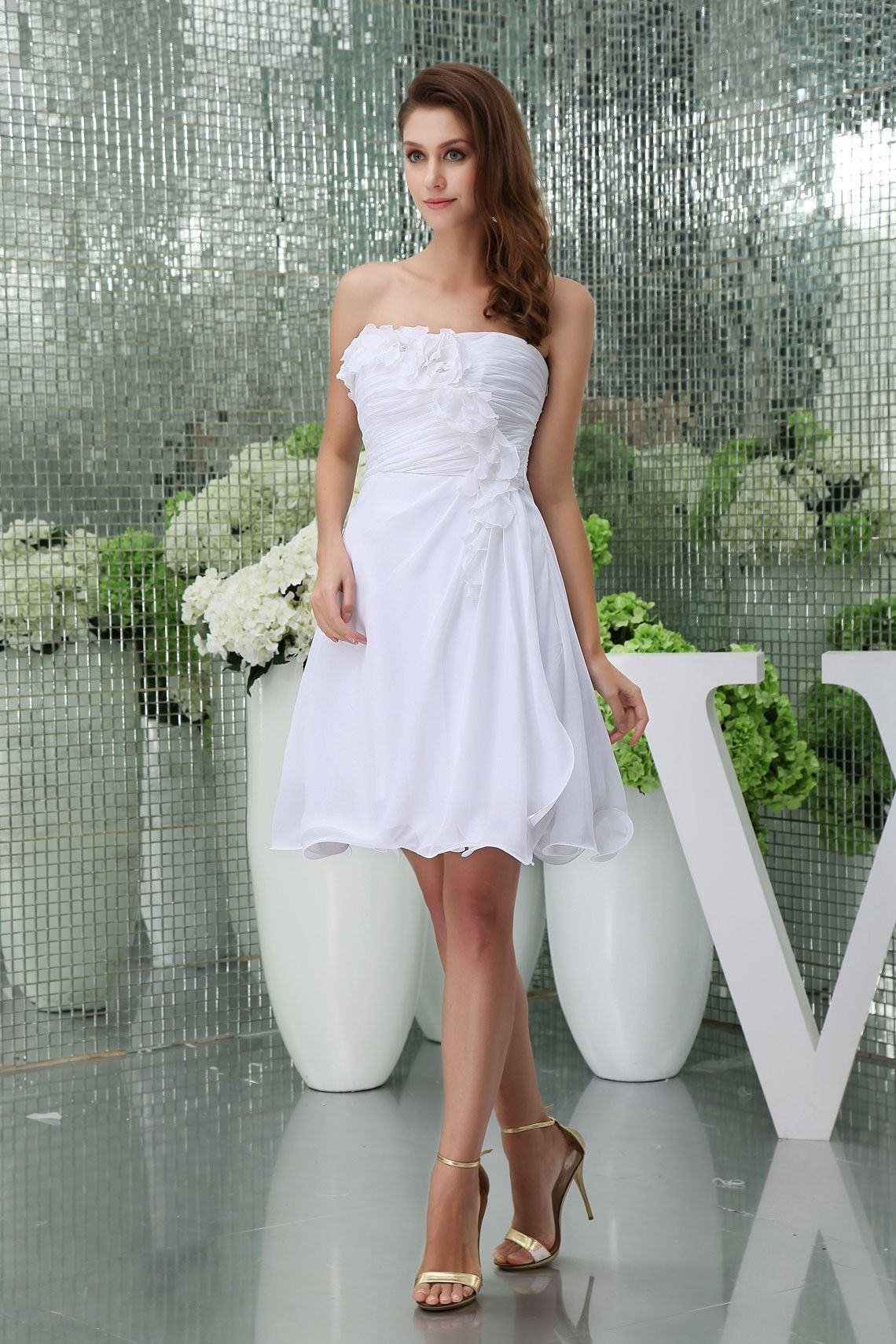 Mini white wedding dress  Strapless Short Aline Flowers Pleated Chiffon Bridesmaid Dress