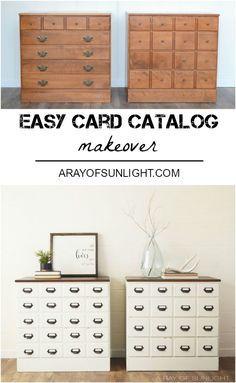 DIY Card Catalog Dresser Makeover