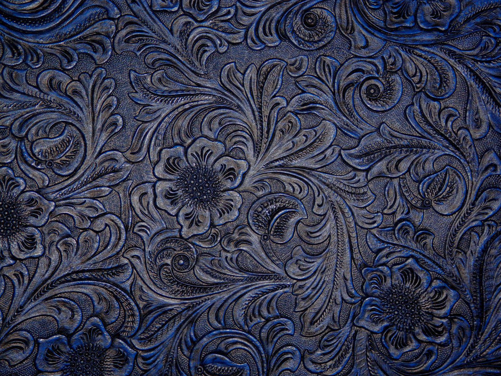 Vinyl Varied Blue Dk Blue Floral Tooled Faux Leather