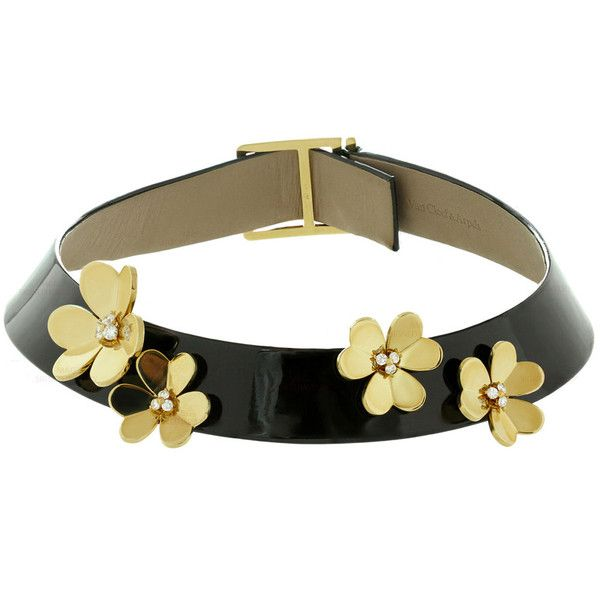 Pre-owned 1990s Van Cleef & Arpels Frivole Diamond Leather Yellow Gold... ($14,500) ❤ liked on Polyvore featuring jewelry, necklaces, beaded necklaces, black choker, yellow gold necklace, choker, black choker necklace and diamond necklaces