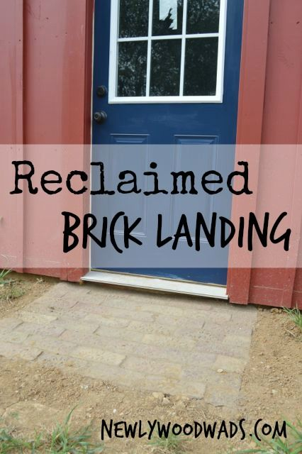 A reclaimed brick entry with upcycled paver bricks.