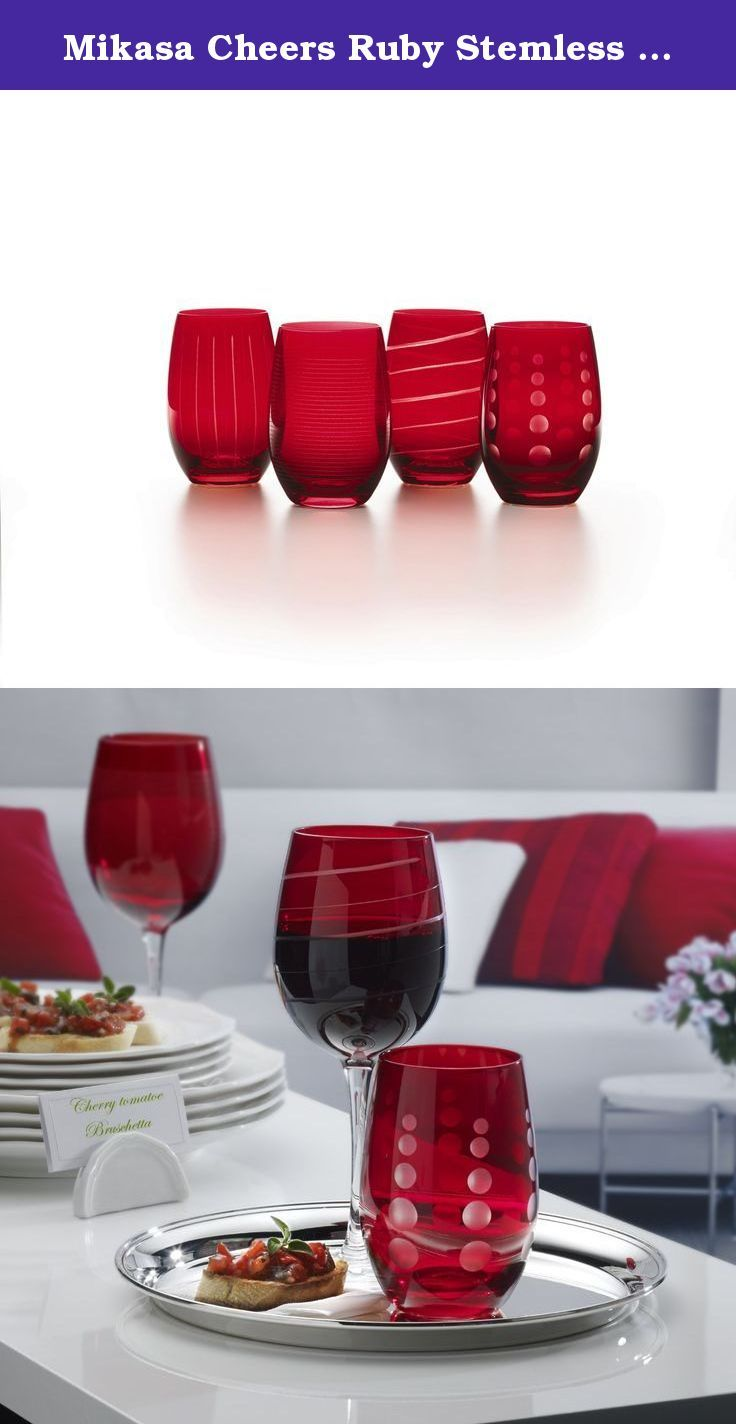 Mikasa Cheers Ruby Stemless Wine Glass 15 75 Ounce Set Of 4 The Fun And Charming Designs Of The Cheers R Dining And Entertaining Wine Charms Charming Design