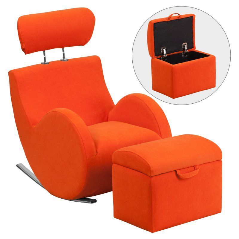 Flash Furniture HERCULES Series Fabric Rocking Chair with Storage Ottoman - LD-2025-OR-GG
