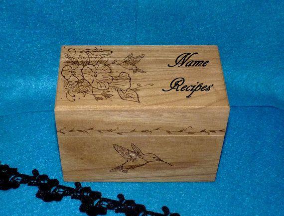 Decorative Recipe Box Personalized Wood Burned Recipe Box Custom Recipe Box Engraved
