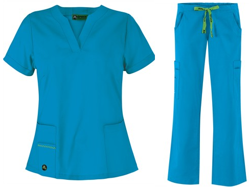bd5b06fcba6 M Set - Crocs Scrubs Vickie 3-Pocket Top & Crocs Scrubs Drawstring with  Back Elastic Karla Scrub Pant in Baha Blue