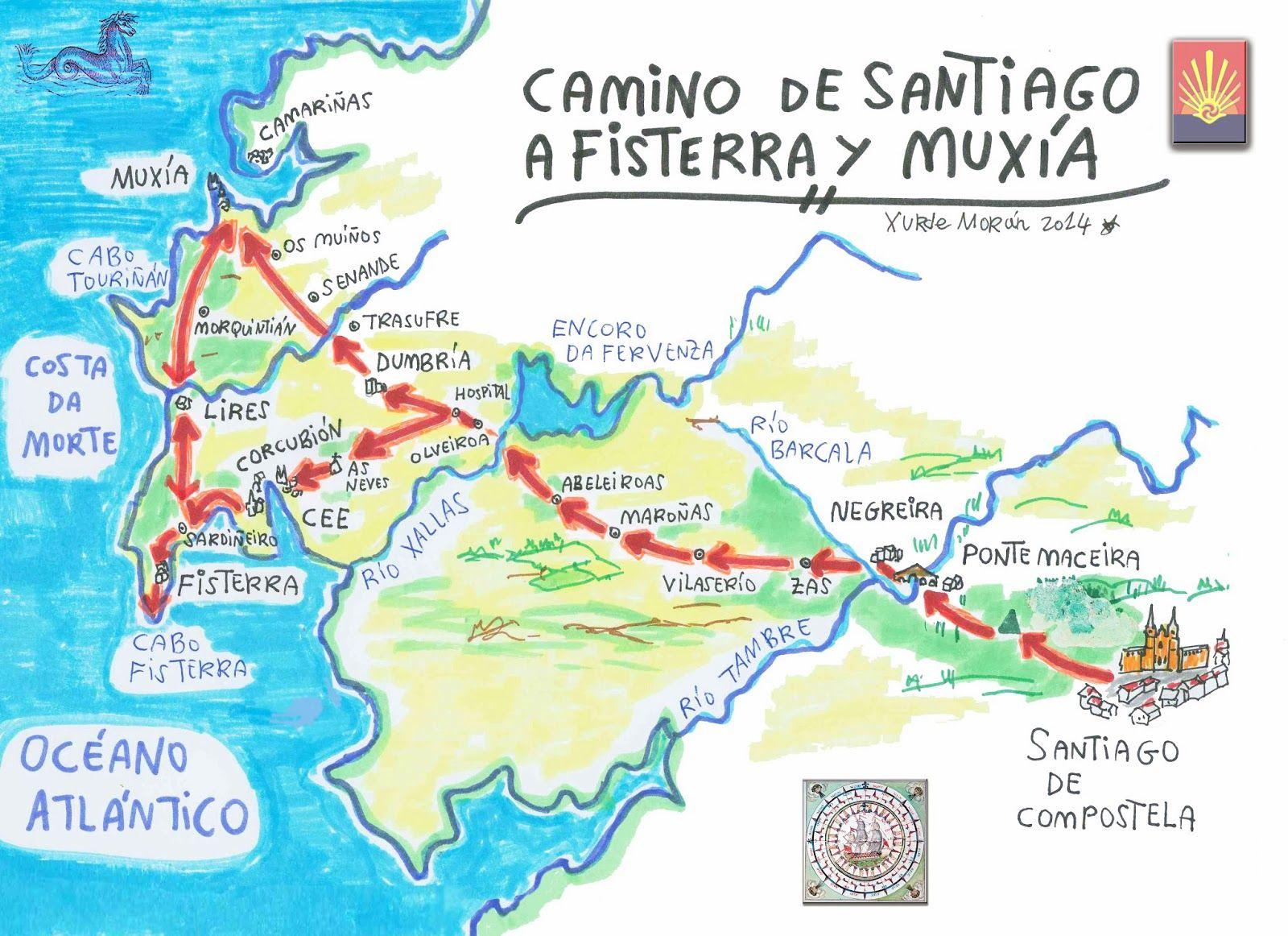 Xurde Morn Mapa del Camino de Santiago a Fisterra y Muxia