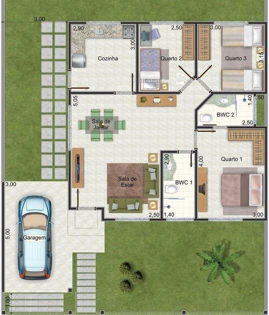 Plano de casa muy linda con 3 dormitorios y 95 m2 2 arch for Planos de casas lindas