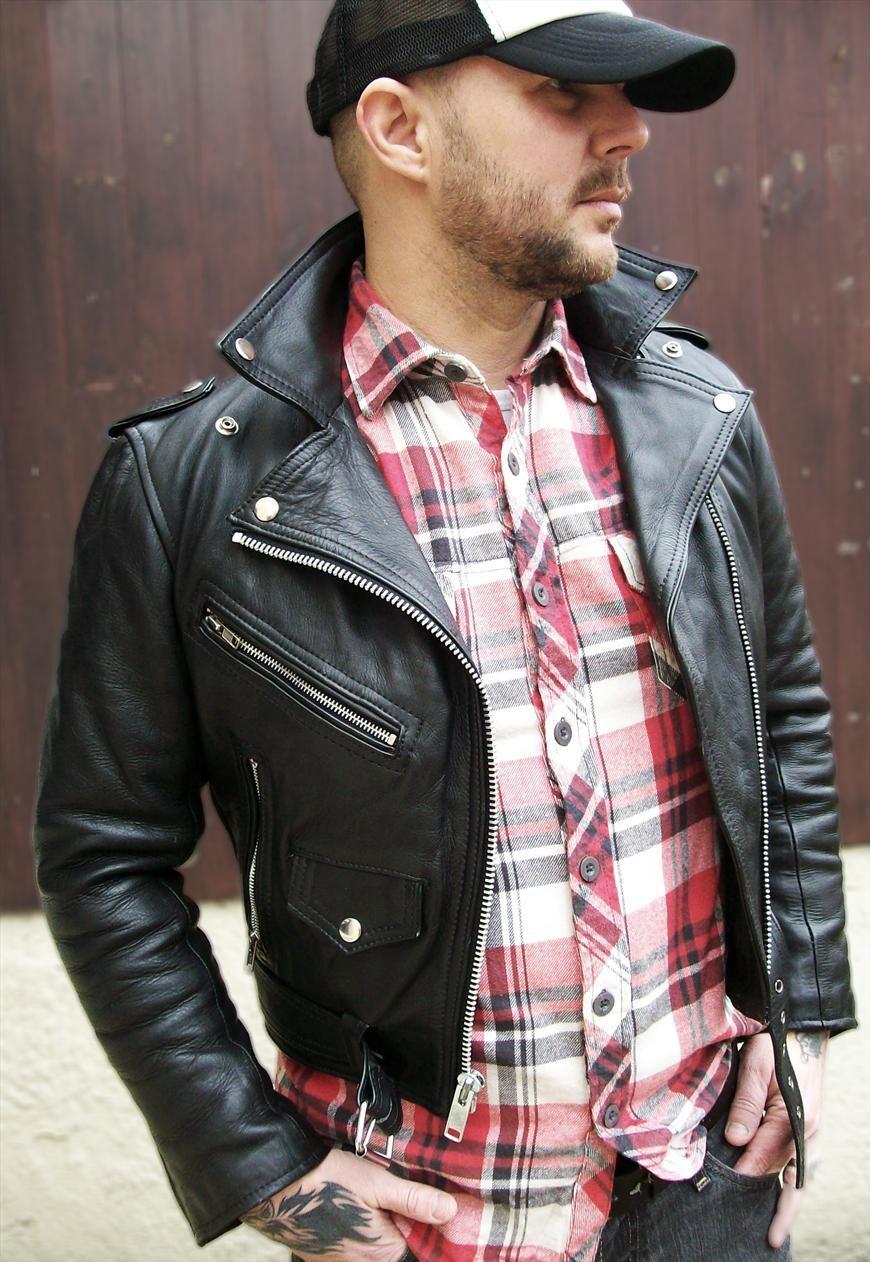 Brando Biker Black Leather Jacket UK FREEPOST buffalow