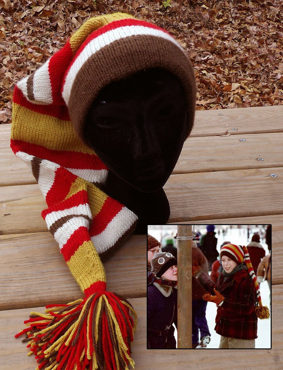 Free knitting pattern for schwartzs stocking cap from a christmas free knitting pattern for schwartzs stocking cap from a christmas story ladonna bubak recreates the iconic long striped hat worn by schwartz in the bankloansurffo Image collections