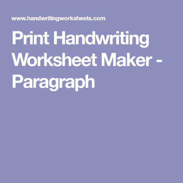 Print Handwriting Worksheet Maker Paragraph Homeschool Language