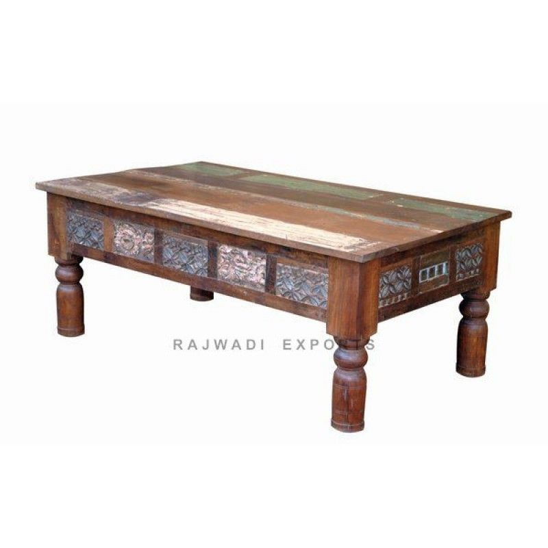 Attractive Design Natural Wooden Style Coffee Table With Drawer