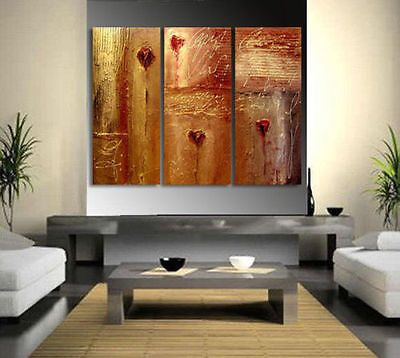 THREE PC MODERN ABSTRACT HUGE WALL DECOR OIL PAINTING ON CANVAS NO