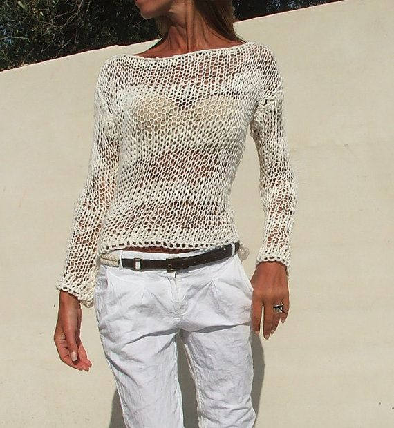 Knitting Summer Sweater : White sweater cotton mix loose knit summer