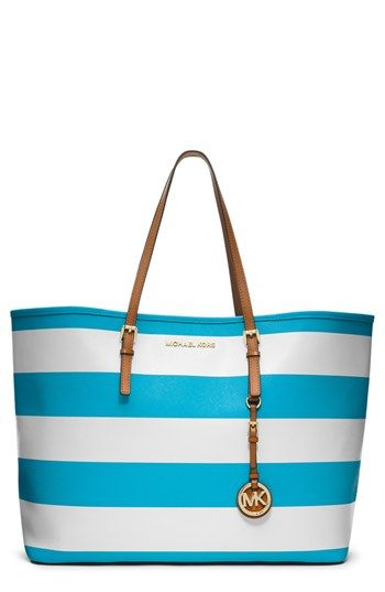 936ea44f5ea3 MICHAEL Michael Kors Jet Set Travel Stripe Tote in White   Summer Blue  Breezy stripes lend seaside-chic style to this classic carryall from michael  michael