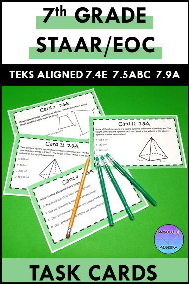 7th Grade STAAR EOC TEKS Aligned Task Cards 7.4 E, 7.5 A,B ...