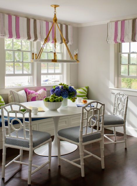 Chairish Breakfast Nook Curtains Transitional Dining Room