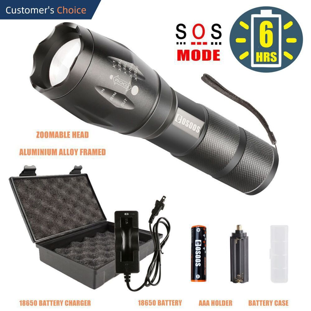 Led Flashlight With Rechargeable Battery And Charger From Cosoos Flashlight Kit Tactical Flashlight Flashlight