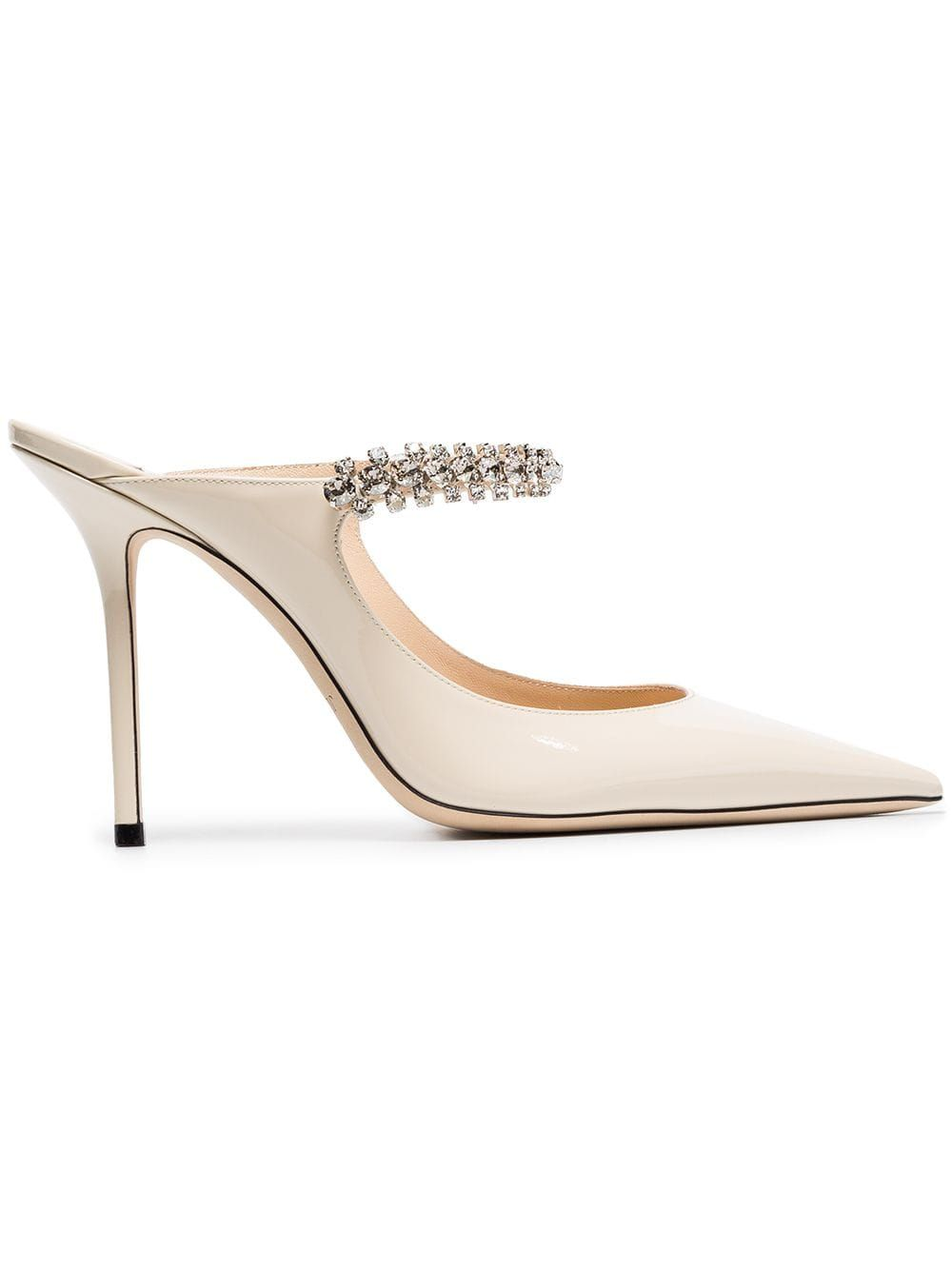 b612fec82c4 Jimmy Choo linen white Bing 100 crystal anklet patent leather mules -  Neutrals